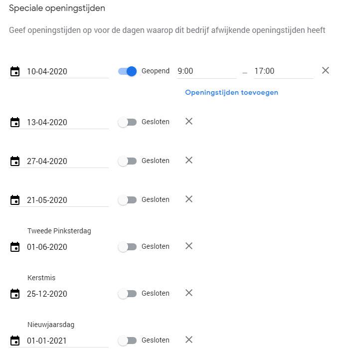 Speciale openingstijden Google Mijn Bedrijf